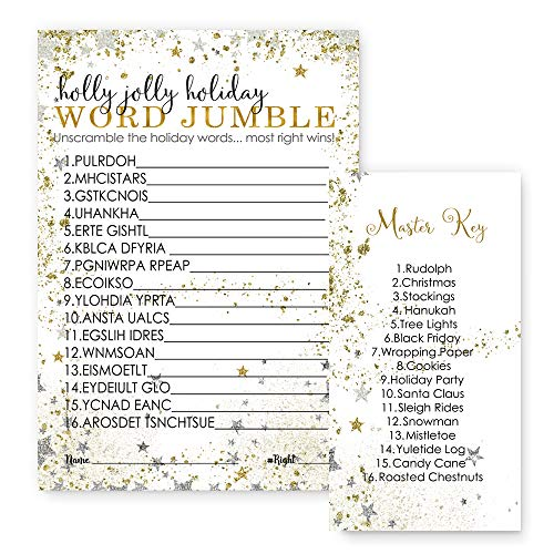 Festive Christmas Party Word Scramble Game Cards Set of 25 Silver and Gold Star -