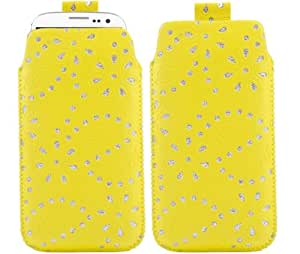 iTALKonline AMARILLO Diamante Bling FLOR Hoja calidad antideslizante Pouch Case Carcasa con Pull Tab para Nokia Lumia 925