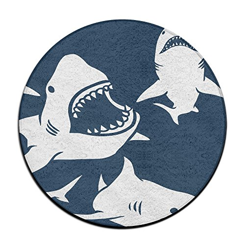 Soft Round Rug,Fluffy Silky Carpet Fashion Color Smooth Bedroom Mats Round Shag Floor Pad For Girls Bedroom Decorate And Indoor Use,60cm Shark