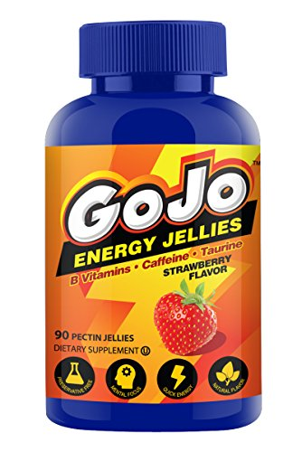 (GoJo Energy Chews, with B Vitamins, Caffeine, Taurine, Strawberry Flavor, Gummies for Energy and focus you need to make it through your day. 90 Gummies)