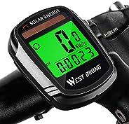 West Biking Bicycle Pedometer Odometer Solar Power Speedometer, Bike Wireless Waterproof Cycling Computer, Bik