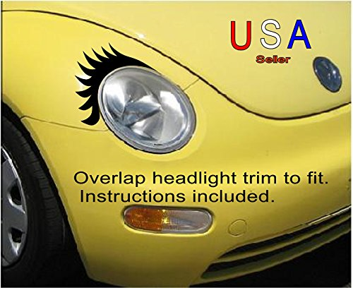Car Eyelashes Vinyl conforming Decals USA 7 yr warranty Customized fit to oval headlight VW Mini Fiat USA