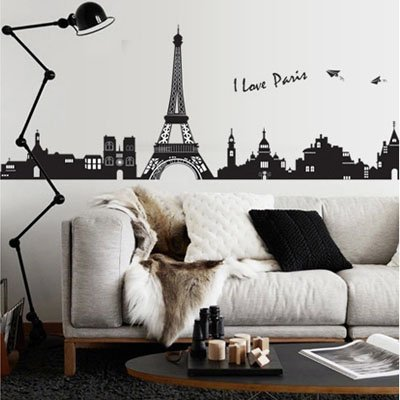 Mznm Diy Home Decor Eiffel Tower Wall Stickers Living Room Bedroom Wall Decor Mural Decals Torre Eiffel