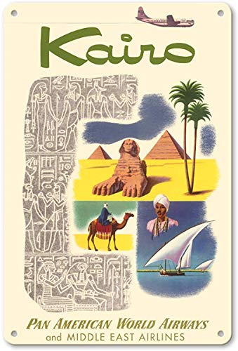"Aluminum Sign, Metal Sign, 7"" x 10"" Vintage Tin Sign - Kairo (Cairo) Egypt - via Beirut with Clipper Planes - Pyramids - Pan American World Airways - Middle East Airlines Retro Sign"