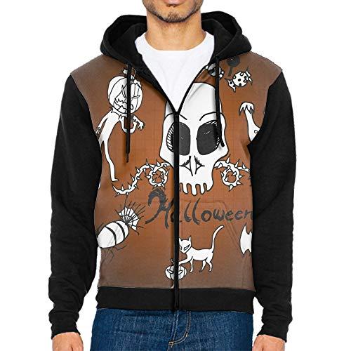 TZKDHCA Doodles Halloween Men Hoodies Print Casual Sweatshirts 2018 Spring Hoody Fashion Men Zippers