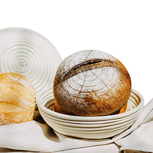 RABA Proofing Baskets 9.5' Round Bread Made By Natural Rattan, Beige For Home Bakers And Bread Making ()