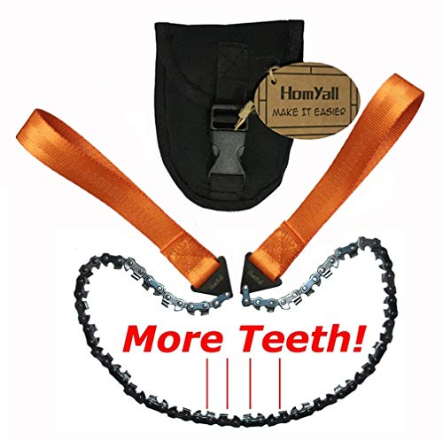 Homyall 24 -33 Teeth Pocket Chainsaw 3X Faster with Cutting Blade ON Every Link 36 -16 Teeth Long Chain Pocketsaw for Wood Cutting Outdoor Hiking Camping Survival Gear Garden Work with Carrying Pouch
