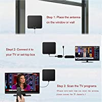 Antena TV Interior, [Nueva versión 2019] Antena Interior TDT 60 Millas con Amplificador de Señal y Cable Coaxial de 13.2 FT, Digital HDTV Antena Portatil para DVB-T TDT (Negro): Amazon.es: Electrónica