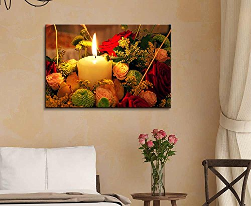 Candle and Flowers Wall Decor