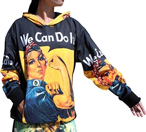 Raan Pah Muang RaanPahMuang Rosie The Riveter We Can Do IT! WW2 - Hoody Long Sleeve Sweater, Large