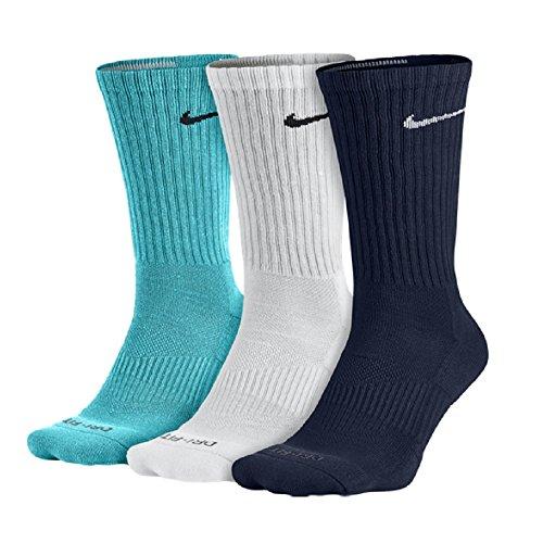 Nike Dri-FIT Cushion Crew Athletic Training Socks 3-Pack 902 Multi Colored Navy/White/Omega Blue (L)