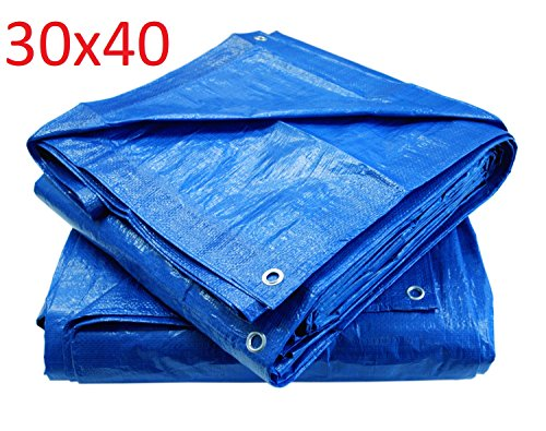 Blue Poly Tarp Cover, Water Proof Tent Shelter, Tarpaulin Multi-purpose, Waterproof Reinforced Rip-Stop with Grommets Every 3 Feet. (30X40)