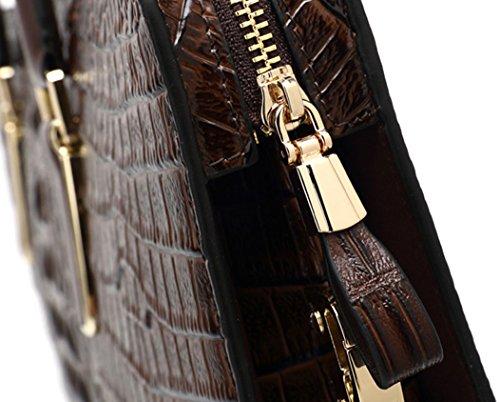 Oruil Messenger Bag Upscale Shoulder Casual Briefcase black Horizontal Brown Handbag Genuine Business Leather Section wrqwxtdEgp