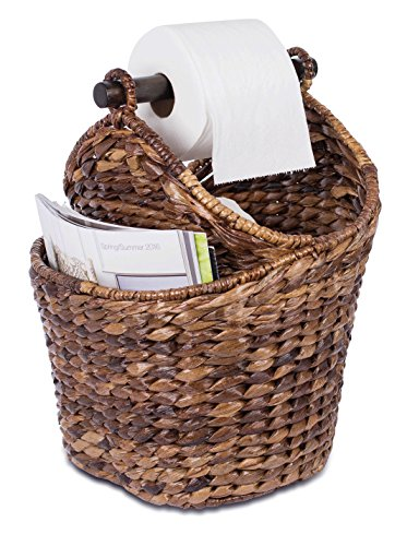 BirdRock Home Seagrass Magazine and Bathroom Basket | Hand Woven Toilet Paper Holder with Pocket | Espresso | Stylish Decorative Design | Wooden Basket Décor | -