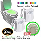 fb960b6e94 2 Pack Toilet Light with  Put me Down   Sticker That Glows in