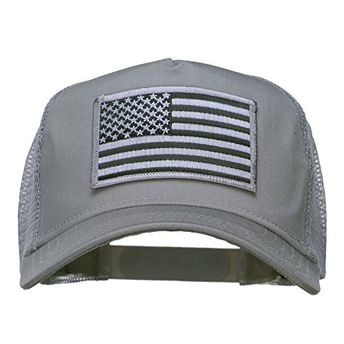 American Flag Patch Mesh Cap - Grey OSFM