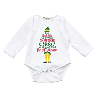 0-18 Mos Unisex Baby Xmas Clothes Newborn Letter Print Long Sleeve Romper  Outfit 6405126b4cb