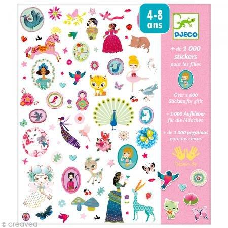 DJECO DJ08951 Stickers-1000 Stickers for Girls Novelty