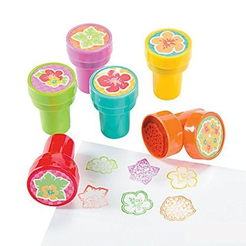 Flower Stampers - 6 ~ Hibiscus Flower Stampers ~ Assorted Colors ~ Self-inking ~ New / Shrink-wrapped