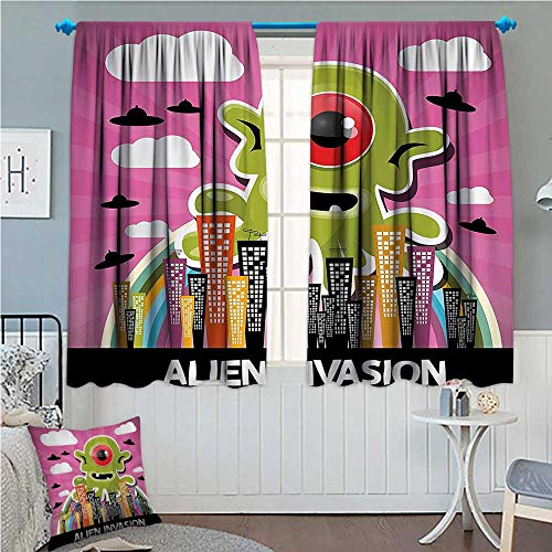 (zojihouse Outer Space Decor Decor Curtains by Funny Giant Big One Eyed Monster City Urban Danger Attack Invasion Clip Design Multi)