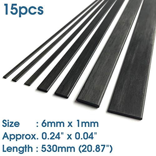15(pcs) ABEST 1mm x 6mm x 530mm Length Carbon Fiber Strip Bar (Approx. 0.04