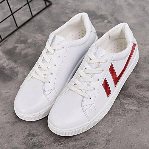 Zapatos del Sneakers GAOLIXIA PU para mujer Black Flat del pie dedo Casual Comfort Spring de Fall Outdoor Red cerrado Heel Rojo vgfSrwvq