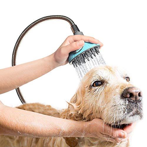 (DELE Pet Bathing Tool pet Shower Sprayer, All-In-One Quality Dog Shower Kit. Dog & Cat Bathe & Massage. Bathtub & Garden Adapter. Indoor & Outdoor Hose Attachment )