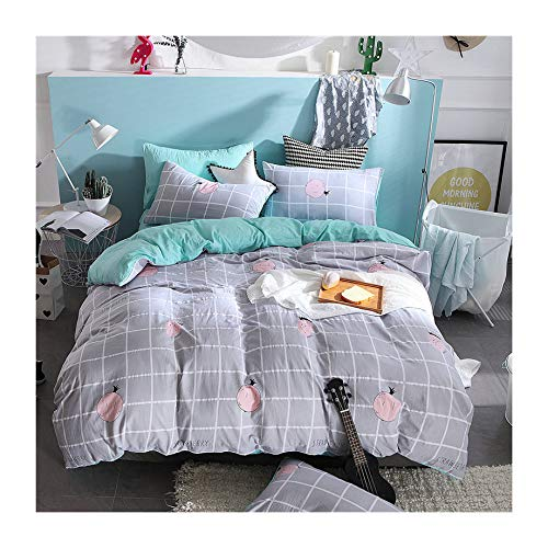 Lemon, Grey Full 70 x86  KFZ Woodland Deer Design Hydro Cotton Bed Set (Twin Full Queen King Size) [4 Piece  Duvet Cover, Flat Sheet, 2 Pillow Cases] No Comforter ZL1903 Animal for Kids (Funny Friend, Grey, Twin 60 x80 )