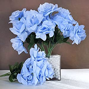 Tableclothsfactory 84 Artificial Open Roses Wedding Flowers Bouquets - Periwinkle 58