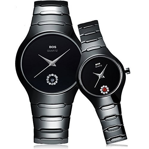De pareja relojes BOS negro sin de cuarzo reloj con esfera Simple para hombre para mujer 8006: Amazon.es: Relojes