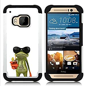 - sun shades sunglasses frog white drink/ H??brido 3in1 Deluxe Impreso duro Soft Alto Impacto caja de la armadura Defender - SHIMIN CAO - For HTC ONE M9