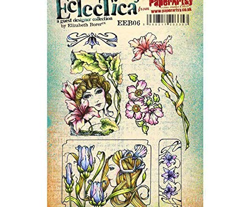 Face Girls and Flowers - Rubber Cling Stamps (6ks), Paperart, Scrapbooking Paper