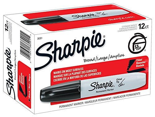 Sharpie Permanent Markers, Chisel Tip, Black, 2 Dozens