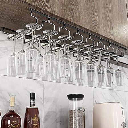 LJWJ Estante de Vino, Bar, Restaurante, Rack de Copa de Vino, Hogar Red de Alenamiento Rosa de Cristalería Rack Champán Vidrio Colgante Rack Soporte para Cocina Pub,7 Filas
