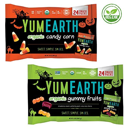 COMBO PACK - Organic Candy Corn AND Organic Gummy Fruits - 24 Snack Packs Each - YUMEARTH - Halloween - Limited Edition - Gluten Free - No Nuts - USDA Organic