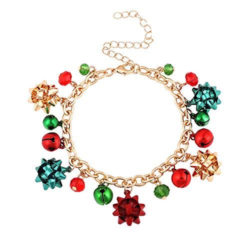 (ALEXY Christmas Bracelets for Women X-Mas Gift Bow Charm Bracelets Jingle Bell Link Bracelets for Girls Kids (D Gold Bell))