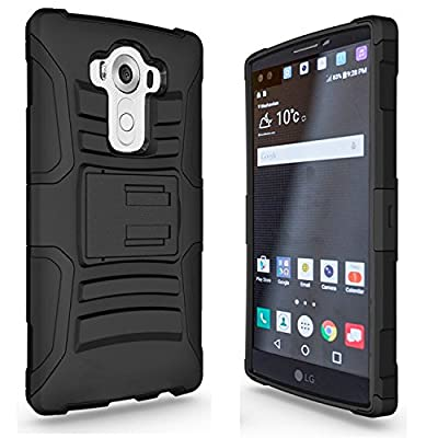 LG V10 Case, Combo Rugged Shell Cover Holster with Built-in Kickstand and Holster Locking Belt Clip + Circle(TM) Stylus Touch Screen Pen And Screen Protector Red by CIRCLE