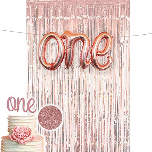 1st Birthday Decorations Firsts Birthday Party Supplies One Cake Topper Rose Gold ONE Balloon for her Rose Gold Curtain Backdrop Props or Photos Happy Birthday Bday Princess Deco