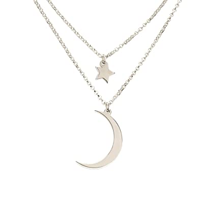 Amazon.com  Sterling Silver Moon and Star Necklace  Jewelry d5540d572e