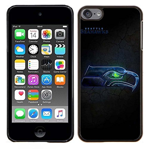 iPod Touch 5 Case, iPod Touch 6 Cases, Seahawks Logo 25 Drop Protection Never Fade Anti Slip Scratchproof Black Hard Plastic Case