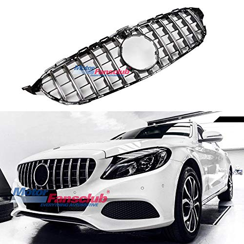 MOTORFANSCLUB W205 Grill,GT R Style Front Chrome Silver Upper Bumper Hood Grille Grill for Mercedes Benz C Class C200 C250 C300 C350 S205 2015+ AMG Without Camera Hole