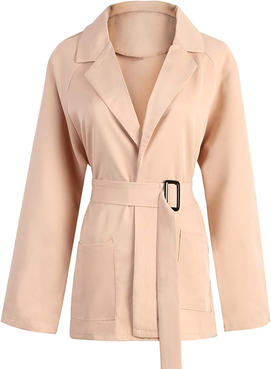 Womens Casual Blazer Coat Notched Collar Wrap Short Windbreaker with Belt
