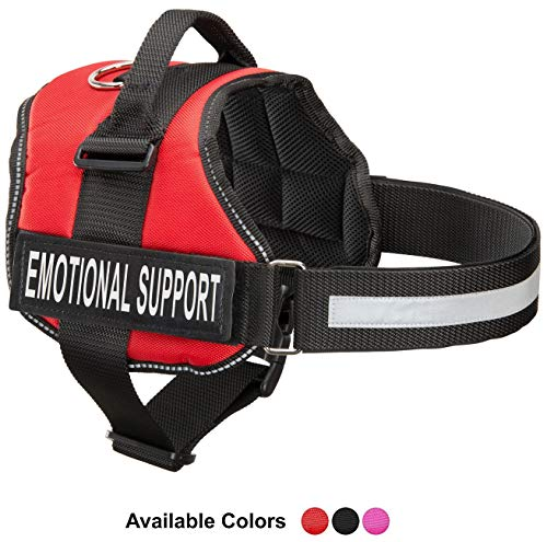 Industrial Puppy Emotional Support Dog Harness with Reflective Straps, Interchangeable Patches, Top Mount Handle | 7 Adjustable Sizes | Heavy Duty Construction