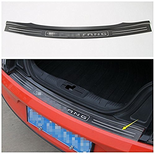 Bestmotoring Stainless Steel Outer Rear Bumper Protector Guard for Ford Mustang 2015 2016 2017 Black 1pc