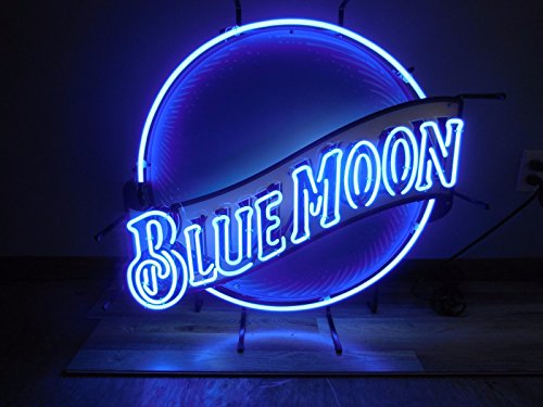 Urby™ Blue Moon Real Glass Neon Light Sign Home Beer Bar Pub Recreation Room Game Room Windows Garage Wall Sign 24''x20'' BM10 by Urby (Image #1)