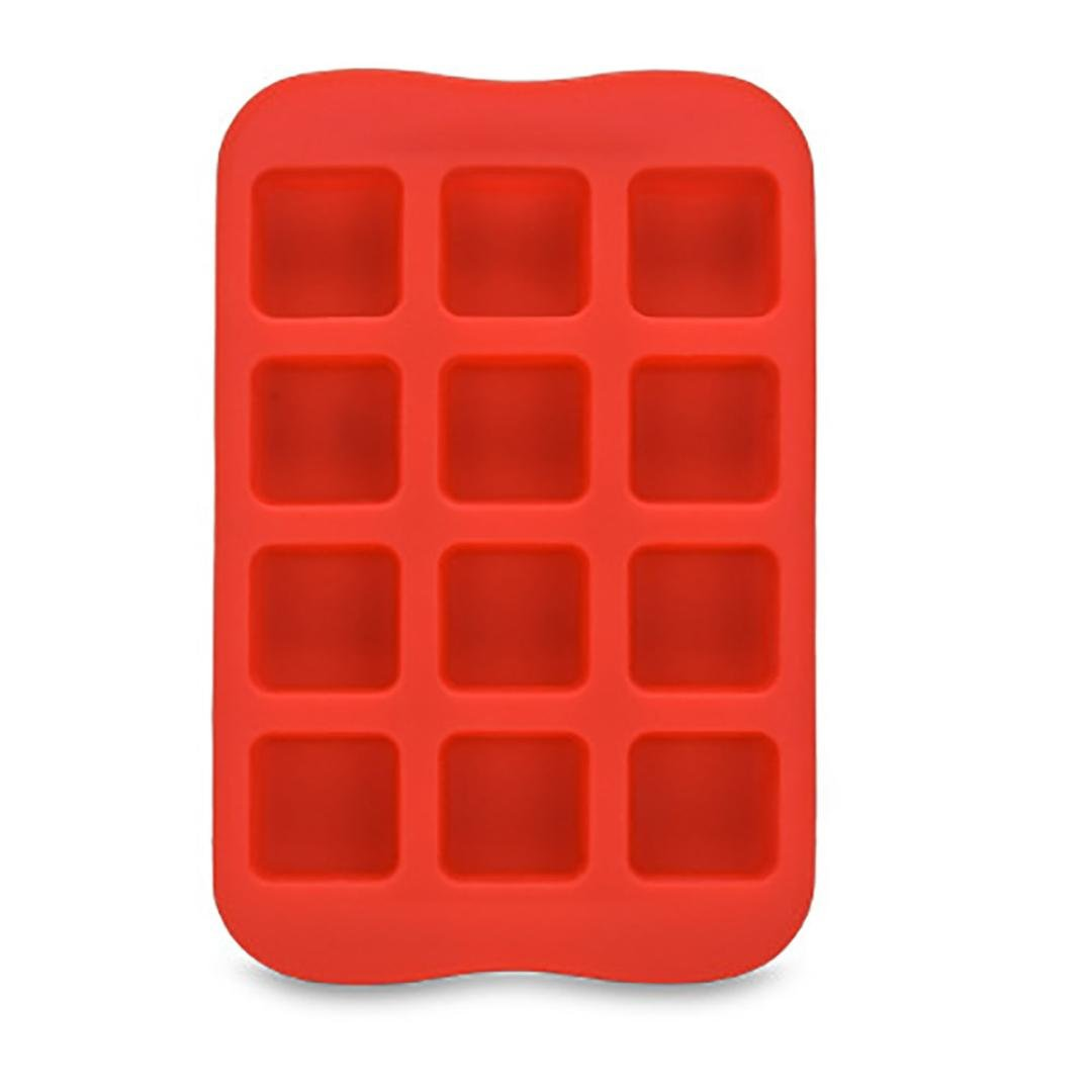 Vacally 1Pc Easy Release Hot Silicone Freeze Mold Bar Pudding Jelly Chocolate Candy Maker Mold 12 Ice Cube Heart Round Star Square Shaped (Square)