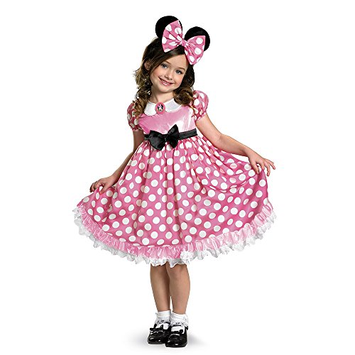 Mickey Mouse Halloween Costume Toddler (Disney Minnie Mouse Clubhouse Glow In The Dark Costume, Pink/White, X-Small)