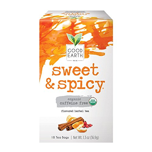 Good Earth Organic Herbal Tea, Sweet & Spicy, Caffeine Free, 18 Count Tea Bags (Pack of 6) (Packaging May Vary)