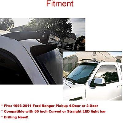 XJMOTO Upper Roof Windshield 50 Inch Curved LED Light Bar Mounting Bracket for 1993-2011 Ford Ranger Model: Automotive