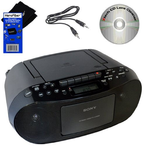 Sony CD Radio Cassette Recorder Bundled with AC Power Auxiliary Cable for iPods, iPhones, Smartphones, MP3 Players